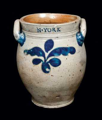 COERLEARS HOOK / N. YORK (Thomas Commeraw, New York City) Stoneware Jar, c1799