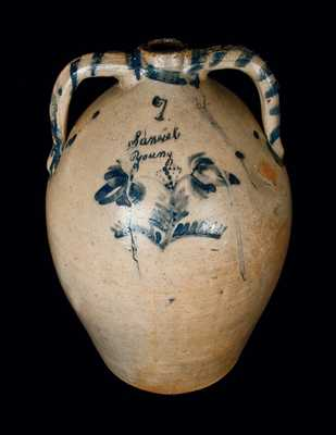 Very Rare Seven-Gallon Double-Handled Stoneware Jug with Cobalt Decoration, Incised