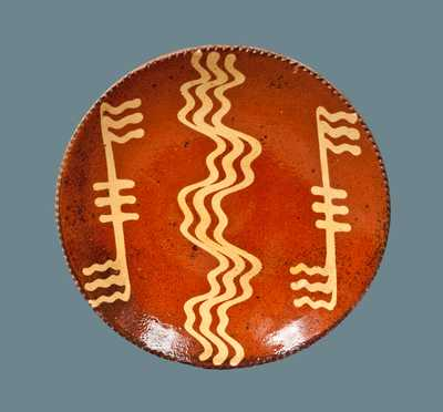 Slip-Decorated American Redware Plate