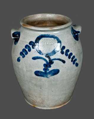 Very Rare Decorated Stoneware Crock Signed J. SWANN, Alexandria, Virginia