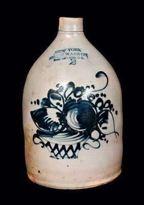 New York Stoneware Company Stoneware Jug w/ Basket of Flowers Decoration