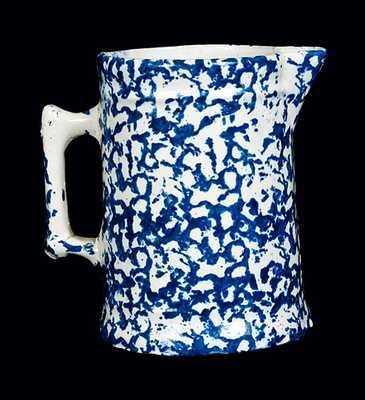 Blue and White Spongeware Tankard Pitcher
