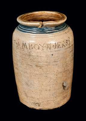 Rare S. AMBOY N. JERSY (Warne & Letts) Stoneware Crock