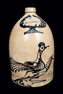 WHITES UTICA Stoneware Jug with Elaborate Bird Decoration