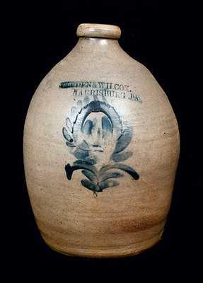 COWDEN & WILCOX / HARRISBURG, PA Stoneware Jug with Unusual Decoration