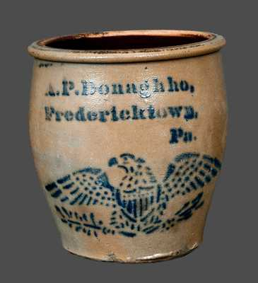 Scarce A.P. Donaghho, Fredericktown, PA Stoneware Cream Jar with Stenciled Federal Eagle Decoration