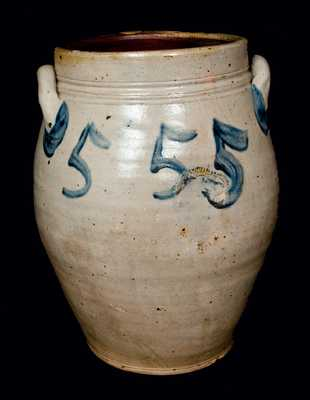 Very Rare PAUL CUSHMAN, Albany, NY, Stoneware Crock with Five Large Cobalt 5's