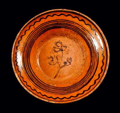 Extremely Rare Redware Bowl with Slip-Trailed Lines and Tulips attrib. Peter Bell, Hagerstown, MD