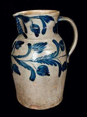 Exceptional B. C. MILBURN, Alexandria, VA Stoneware Pitcher with Floral Decoration