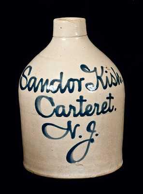Rare Carteret, NJ Stoneware Script Jug Advertising a Hungarian Merchant