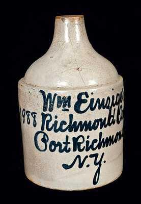 Rare Port Richmond, NY Stoneware Script Jug att. Fulper Bros., Flemington, NJ