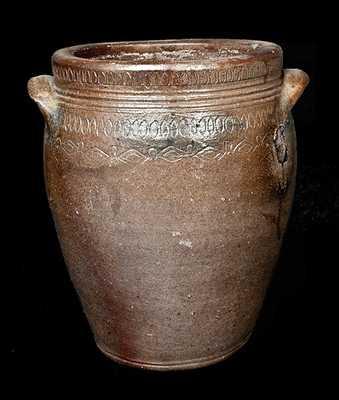 1 Gal. South Amboy, NJ Stoneware Jar with Profuse Coggled Design, circa 1810