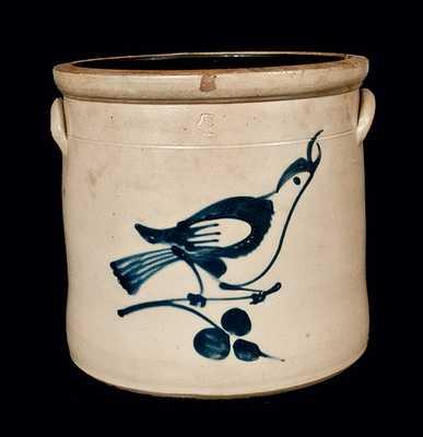 4 Gal. Fulper Bros, Flemington, NJ, Stoneware Crock with Bird Decoration