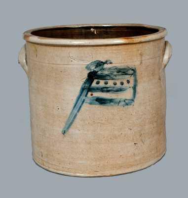Rare A. E. SMITH / PECK SLIP, NY Stoneware Crock w/ American Flag Decoration