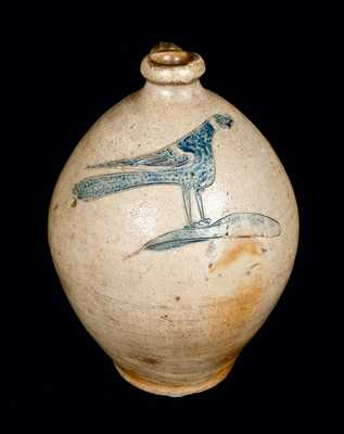 Incised Pheasant Jug, Remmey or Crolius Family, Manhattan, NY