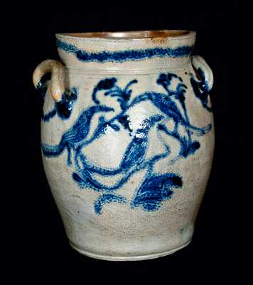 Baltimore Stoneware Jar w/ Elaborate Birds Decoration