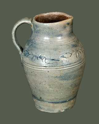 Exceptional Miniature Philadelphia or Old Bridge, NJ Stoneware Pitcher w/ Coggled Bird Decoration, Incised