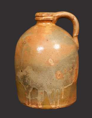 1/2 Gal. Galena, IL, Redware Jug with Tooled Spout and Cream Slip Coating