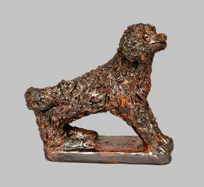 Outstanding Redware Dog Figure with Applied Coleslaw Fur, att. Anthony Baecher