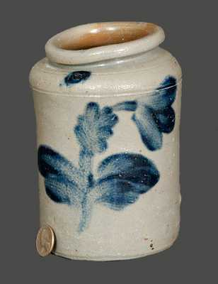 Quart-Sized Stoneware Jar with Floral Decoration, Philadelphia, circa 1835