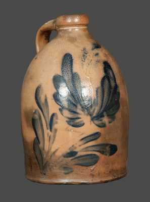 Stoneware Jug with Floral Decoration att. M. & T. Miller, Newport, PA