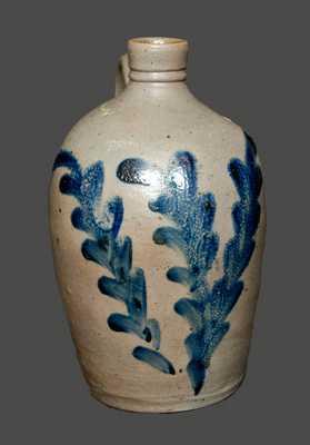 Very Rare Small-Sized Baltimore, MD Stoneware Jug with Cobalt Foliate Decoration, circa 1835