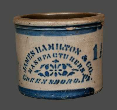 JAMES HAMILTON & CO. / GREENSBORO, PA Stoneware Cake Crock