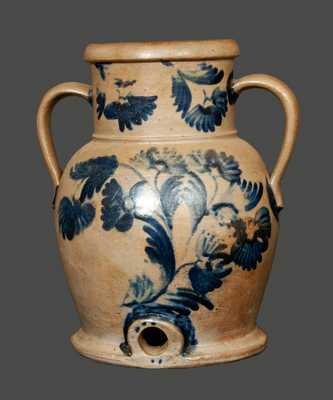 Rare Stoneware Floral Decorated Water Cooler with Open Handles, Baltimore, circa 1845