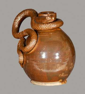 Rare Anna Pottery Stoneware Snake Jug Inscribed