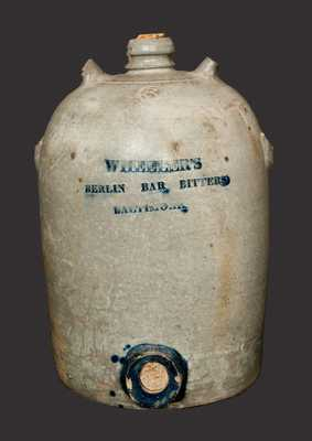 Very Rare 3 Gal. WHEELER'S BERLIN BAR BITTERS / BALTIMORE Stoneware Advertising Jug Cooler