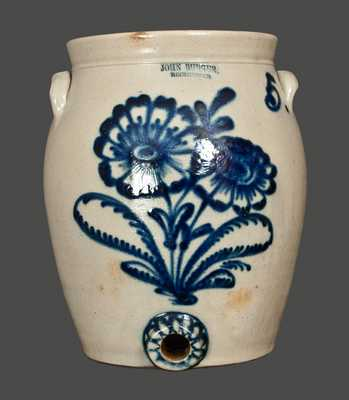 JOHN BURGER / ROCHESTER, NY 5 Gallon Stoneware Water Cooler with Slip-Trailed Floral Decoration