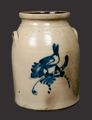 ADAM CAIRE / PO'KEEPSIE, NY Stoneware Crock with Bird Decoration