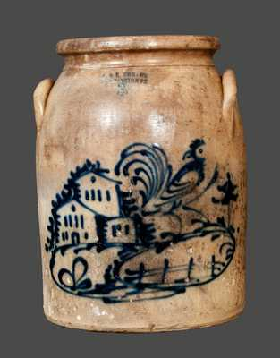 Rare J. & E. NORTON / BENNINGTON, VT Stoneware Crock with Rooster, House and Fence Decoration
