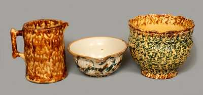 Lot of Three: Rockingham Pitcher, Spongeware Batter Bowl and Spongeware Jardiniere