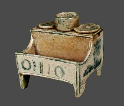 Ohio Stoneware Inkstand, Dated April 16, 1829