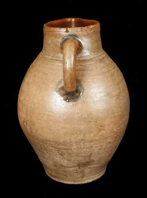 Monumental C. CROLIUS / Manhattan Stoneware Pitcher with Incised Decoration