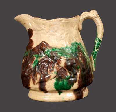 Rare Multi-Glazed Redware Pitcher w/ Molded Hunt Scene, S. Bell & Son, Strasburg, VA
