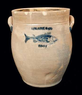 Rare J. CLARK & CO. / TROY Stoneware Crock w/ Incised Fish Decoration