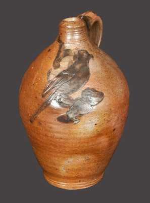 Rare Half-Gallon New York City Stoneware Jug with Incised Bird Decoration