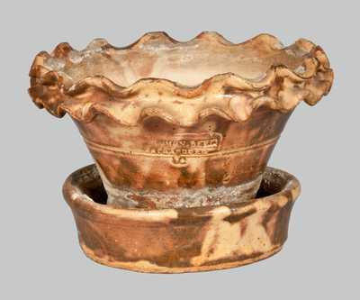Very Fine SOLOMON BELL / STRASBURG / Va Redware Flowerpot w/ Crimped Rim