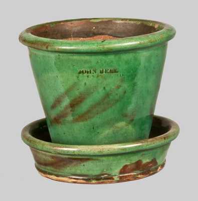 JOHN BELL / WAYNESBORO, PA Redware Flowerpot with Vibrant Green Glaze