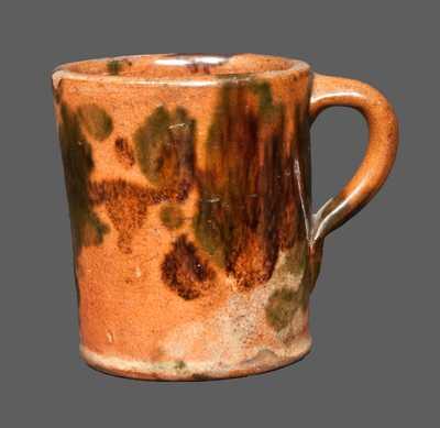 Rare Multi-Glazed Redware Mug, Strasburg, VA origin, late 19th century