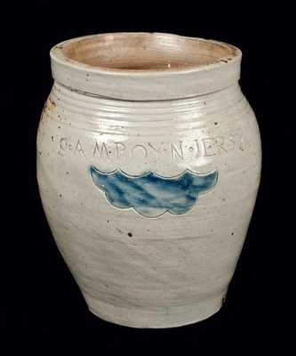 Very Fine S. AMBOY N. JERSY Half-Gallon Stoneware Jar (Warne & Letts)
