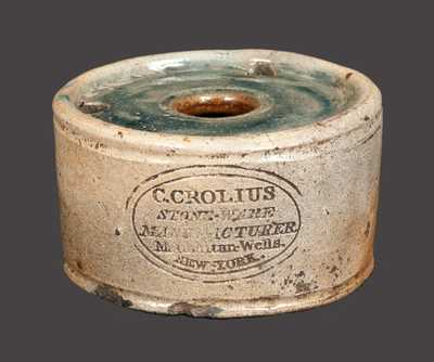 Exceptional Diminutive Inkwell, C. CROLIUS / STONE-WARE / MANUFACTURER. / Manhattan-Wells. / NEW-YORK