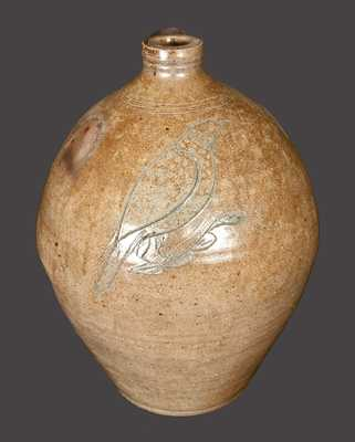 Rare Ovoid Stoneware Jug w/ Large Incised Bird Decoration att. Nicholas Van Wickle, Old Bridge, NJ