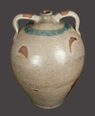 Monumental Double-Handled Stoneware Jug with Coggled Bird Design att. Old Bridge, NJ
