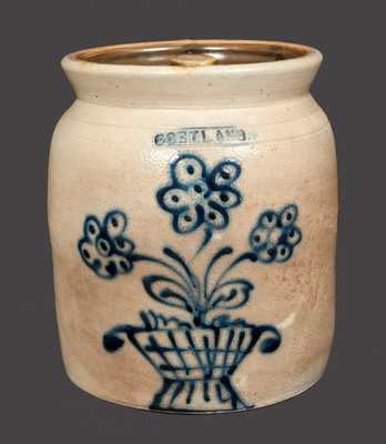 1 Gal. CORTLAND Stoneware Crock with Basket of Flowers Decoration