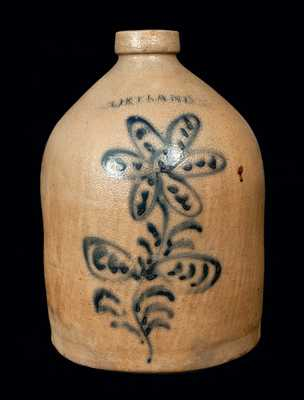 1 Gal. CORTLAND Stoneware Jug with Fine Slip-Trailed Floral Decoration