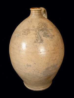 Very Rare Ovoid Stoneware Jug attrib. Branch Green, Philadelphia, PA, w/ Finely-Incised Bird and Floral Design