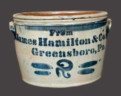 Rare 2 Gal. JAMES HAMILTON & CO. / GREENSBORO, PA Stoneware Handled Bowl
